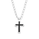 Enameled Chiseld Cross Necklace SV