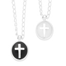 Enameled Cross Medal Necklace